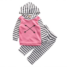 newborn baby suit children clothing Baby Girls Suit Long Sleeve Tops Hoodie + Striped Pants 2pcs Outfits Set Clothes(China)