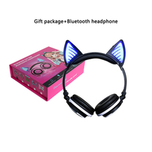 Wireless Cat Ear Headphones Flashing Glowing Gaming Headset Bluetooth Headphone LED light Cat Earphone for PC Samsung Iphone(China)