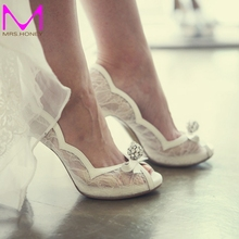 White Lace Peep Toe Wedding Shoes Rhinestone Luxurious Lady High Heels Wedding Party Prom Pumps Bridal Bridesmaid Shoes