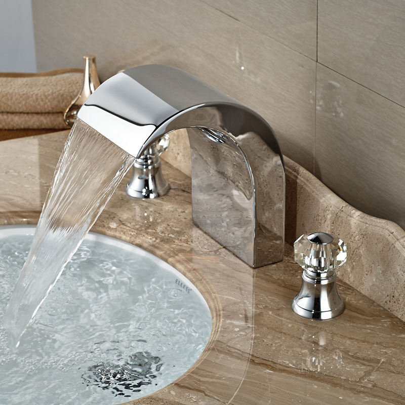 Two Crystal Handle Lavatory Faucet for Bathroom Waterfall Spout Bright Chrome Deck Mount<br><br>Aliexpress
