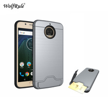 WolfRule sFor Cover Moto G5s Plus Case Rubber & PC Holder Card Slot Shockproof Phone Case For Motorola Moto G5s Plus Cover 5.5''