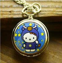 Antique Cute cartoon Hello Kitty quartz pocket watch necklace pendant mens woman jewelry