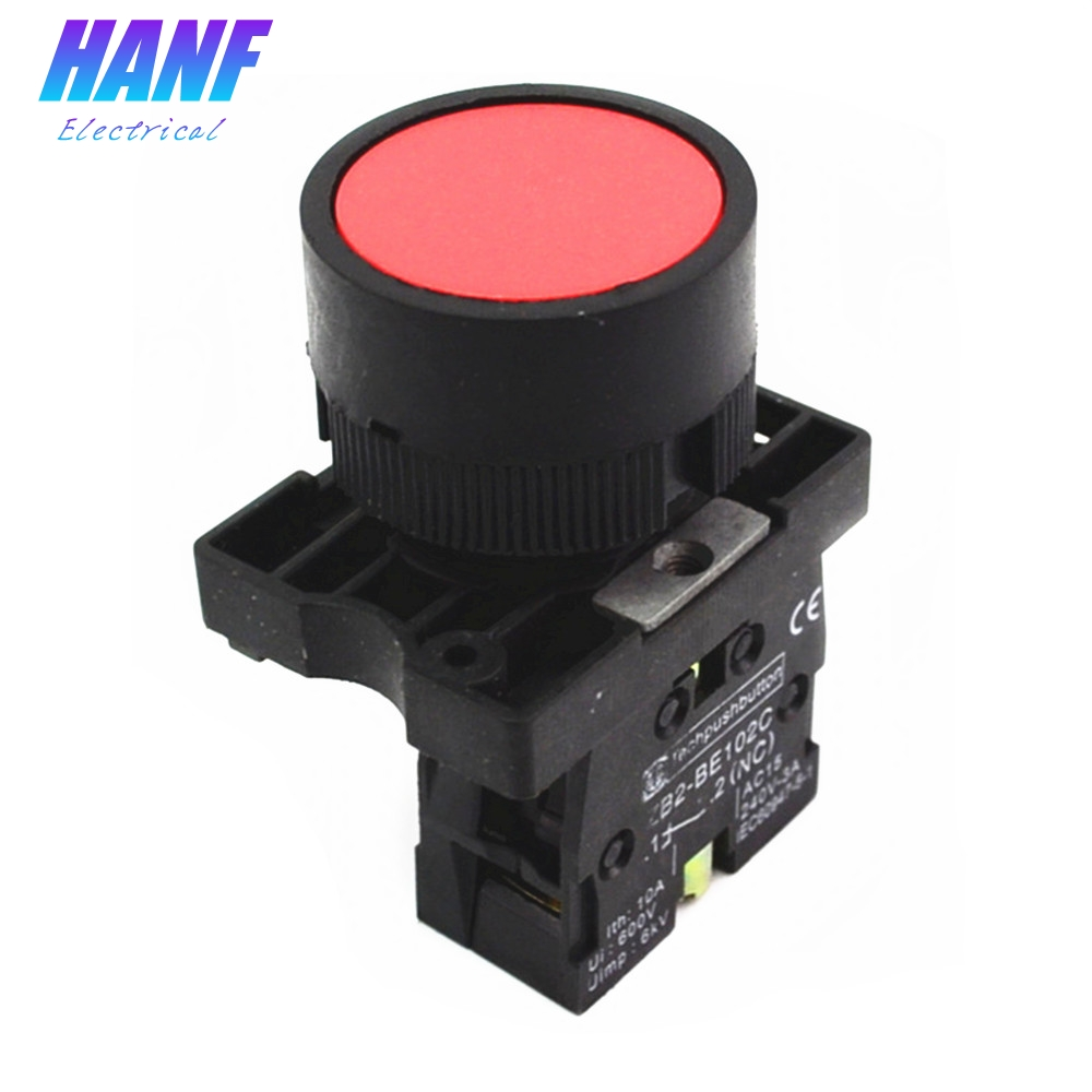 """22mm 1 NC N//C Red Sign Momentary Push Button Switch 600V 10A ZB2-EA42 /"""""""