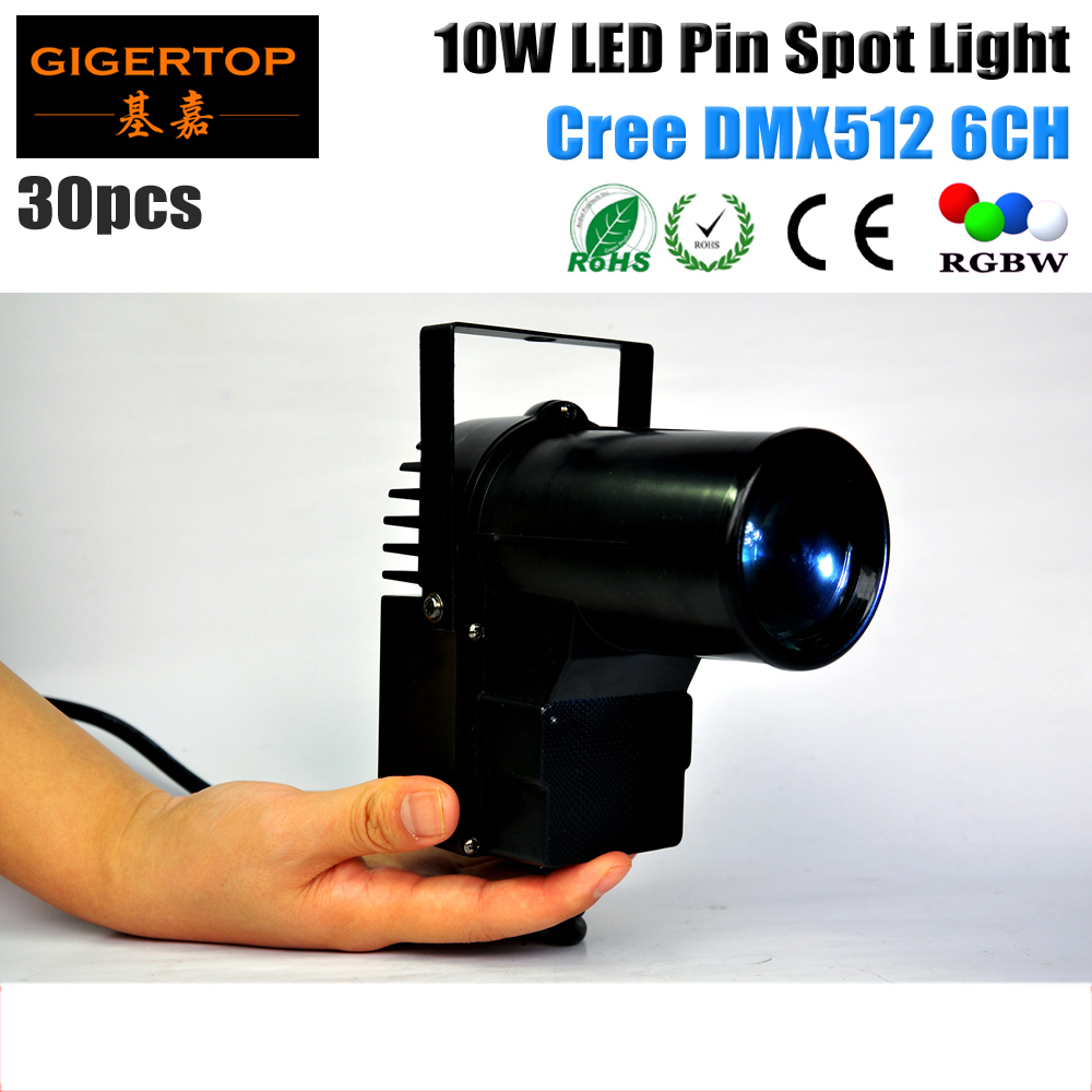 Freeshipping 30pcs/lot 10W Led Pin Spots DMX Cree Leds RGBW 4IN1 Color Mixing DMX 6CH American Dj Equipment led pin spot lights<br>