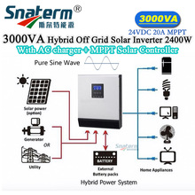 MPPT 3KVA/2400W Hybrid Inverter Pure Sine wave with AC Charger 30A+MPPT 24VDC 20A Solar Charger Controller AC 220V