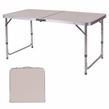 Goplus 2'x4' Height Adjustable Folding Table Aluminum Frame Living Room Console Table Portable Camping Picnic Desk HW54595(China)