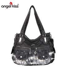 Angel Kiss Washed PU Material Women Shoulder Bag Brand Designer Tie and Dye Leather Fashion Satchel Messenger Tote Bags(China)