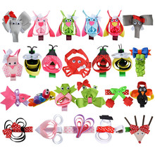 24PCS Kawaii Animal Ribbon Hair Clips For Little Girls Grosgrain Hair Bows Partially Covered Clips DIY Hair Accessories Gift Set(China)