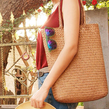 100% Hand Weaving - Star on Beach Bamboo weaving straw bag handmade cool mat bag woven handbag special totes shoulder bags