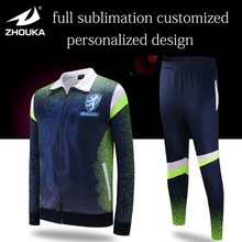 Zhouka Custom Personal Design Training Tracksuit Football Sport Jacket And Pant Customizing