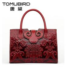 2016 New genuine leather women bag national wind retro embossing fashion women handbags shoulder bag perfectly leather art bag