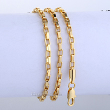 3mm 3.5mm Gold Filled Necklace Personalized Box Link Chain Necklace Mens Womens Chain Necklace Wholesale Bulk Price LGN376