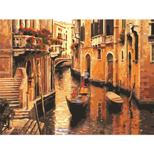 HAOCHU Modern Mediterranean Sea Venice Landscape DIY Digital Coloring By Numbers Picture Oil Painting Wall Poster for Home Decor