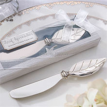 20pcs/lot Chrome Leaf Butter Knife Spreader Valentines Day Gift Christmas Wedding Favors Gift (with Box)