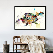 Watercolor Sea Turtle Art Print Poster, Wall Art Picture for Children's Room Decoration, Home Decor Painting on Canvas(China)