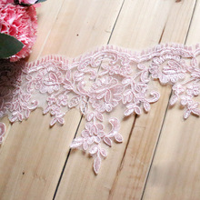 High quality AtSknSk lace wholesale 3Yards/lot sewing lace Pink car bone Paillette lace trim for fabric wedding dress 15cm width(China)
