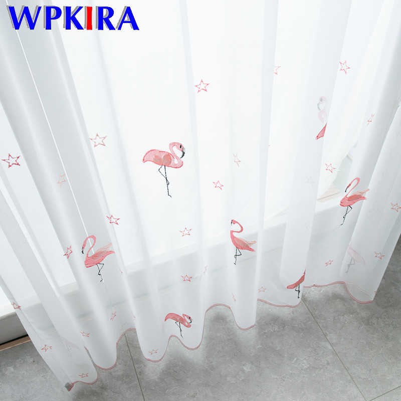 Nordic Ins Style Pink Flamingos Embroidered Childrens Voile Curtain For Kids Girl Room White Tulle Living Room Custome Made Hot