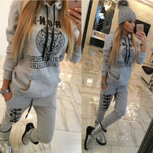2017 Autumn Winter Women Cotton Tracksuit 2 Piece Set Clothing Sportswear Suit Woman Hoodies Set Costumes