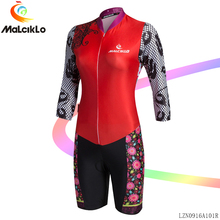 Malciklo Women Cycling Jerseys Jumpsuit Medium Sleeve 2017 Red Elastic Fit Pretty Pattern Bicycle Coverall Road bike clothes