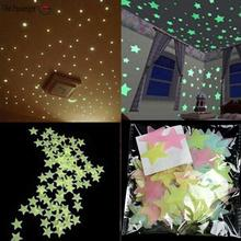 Old Passenger _ 100pcs/  wall stickers illuminate In The Dark baby kids bedroom decor bright stars of fluorescent color tattoos
