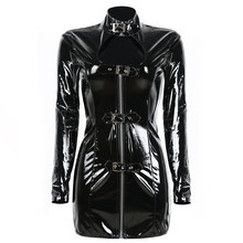 Excellent Women Sexy Black Punk Gothic Bodycon Dress Cool PVC Wetlook Leather Bondage Catsuit Fashion Cocktail Club Vestidos