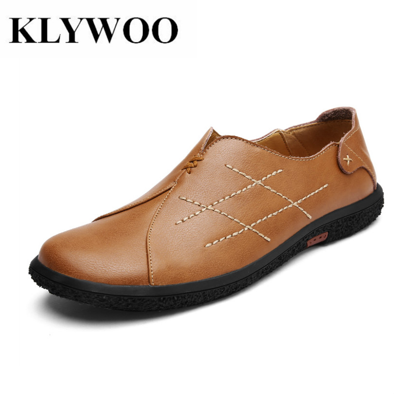 KLYWOO Mens Casual Shoes Handmade Vintage Classic Leather Luxury Oxfords Men Shoes Fashion Stripe Loafers Mens Shoes Casual<br>