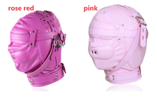 Buy Pink/Rose Red PU Leather Bondage Hood Sex Slave Mask BDSM Bondage Restraints Thicken Full Head Harness Hood Masks Sex Toys