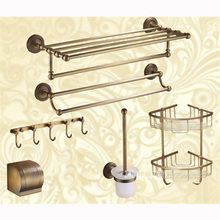 Luxury Brass Bathroom Hardware 6 Combination Discount Package AST3280 Towel Holder Paper Box Hook Brush Bathroom Accessories(China)