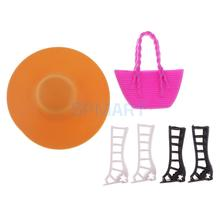 6pcs Shoes Sandal Cap Hat Bags for Barbies Clothes Beach Summer Dress Up Clothing Accs Kid Toys(China)
