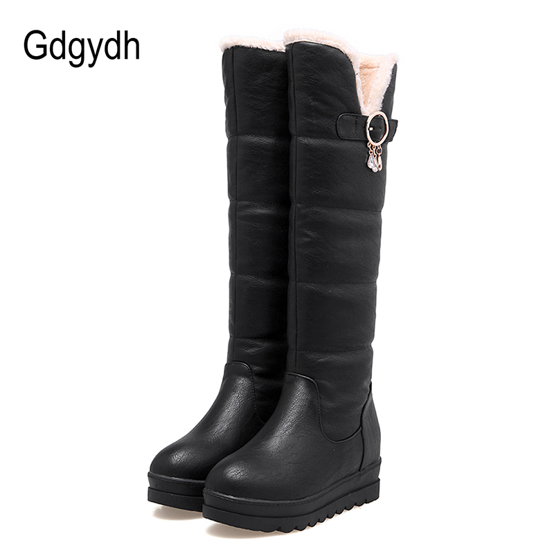 Gdgydh Knee High Boots For Winter Shoes Women Sexy Crystal Plush Inside Warm Ladies Outerwear Shoes Snow Boots Woman Plus Size<br>