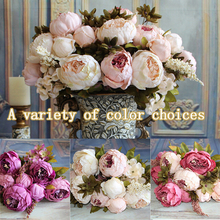 high quality artificial silk flowers European 1 Bouquet Fall Vivid Peony festival patriarch placed flower Home Party Decoration(China)