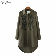 Women flower embroidery long shirts arm green long sleeve buttons blouse blusas mujer ladies fashion tops LT1534(China)