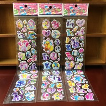 & 10 sheets/lot 3d Cartoon My Little Pony Kids Stickers Toys Bubble stickers Teacher Lovely Reward Stickers  kids gift adhesive