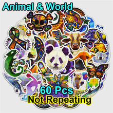 60pcs Galaxy Animal World Peace Mix Stickers for Laptop Phone Skateboard Luggage Car Funny Graffiti Decals Cool DIY Sticker(China)