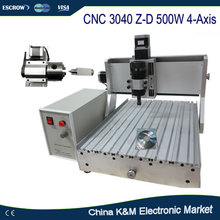 Free Shipping CNC 3040 Z-D 500W 4-axis 3D cutting machine wood engraving router for non-metal material not need assemble