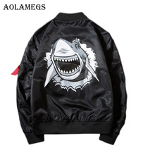 Aolamegs Men's Jacket Shark Print Stand Collar MA1 Plus Size Bomber Jacket Outwear Men's Coat Bomb Baseball Jackets Brand 2017(China)
