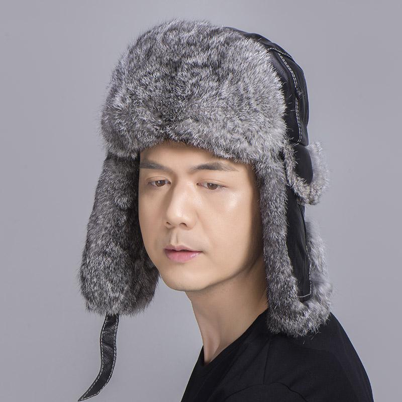 grey rabbit fur sheepskin hat 4