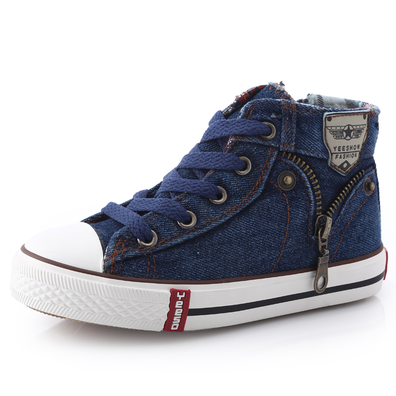 14 kinds New Arrived Size 25-37 Children Shoes Kids Canvas Sneakers Boys Jeans Flats Girls Boots Denim Side Zipper Shoes<br><br>Aliexpress