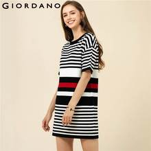 Giordano Women Knitted Dress Crewneck Short Sleeves Vestido Cloro-blocking Stripe Clothes Fashion Brand Knee-Length Lady Dresse(China)