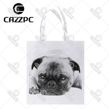 Black and White Poor Cute French Bulldog Pet Print Custom Non-Woven Fabric Reausble Grocery Shipping Storage bag Pack of 4()