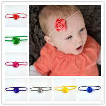 50pcs/lot 18 Color 5cm Satin Rose Bud Flower With Elastic Headband Newborn Girl Photo Shoots Gift Wedding Hair Piece FDA225(China)