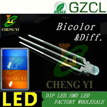 Aliexpress LED supplier Bicolor 3mm indicator Amber&Blue round dip led diffuse lamp bulb(Common cathode)
