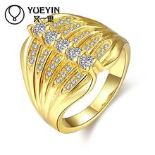 Female jewelry Gold color Engagement rings crystal jewelry anelli donna Super Offer Wholesale Retail Christmas gifts