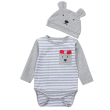 TouchCare Long Sleeve Stripe Baby Romper Cute Hat Cartoon Printed Colorful Pocket Infant Rompers Clothes Jumpsuits - Aurelia Online Co.Ltd. store