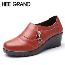 HEE GRAND Women Ankle Boots 2017 New Autumn Soft PU Leather Platform Shoes Woman Zip Low Wedges Shoes Size Plus 35-41 XWD4112(China)