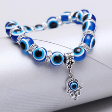 Free SHip 10pcs Blue Evil Eye Crystal Bracelet Charm Lucky Hand Fatima Adjustable Bracelet