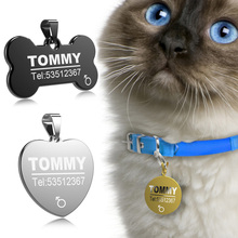 FLOWGOGO Stainless Steel Pet Cat Dog ID Tag Engraved Anti-lost Cat Small Dog Collars Accessories Cat Necklace ID Name Tags(China)