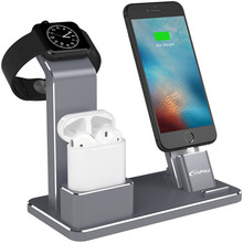 YFW Airpods Stand Bracket 4 in 1 AirPods Accessories Charging Dock Phone Stand for iWatch Series 2/1/iPhone 7/7Plus/6s Plus/5s(China)