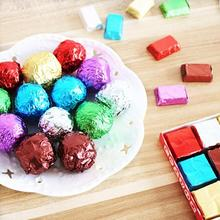 Fashion Wedding Party Bright Color Candy Chocolate Sweets Confectionary Square Aluminum Foil Wrapper Package Paper 100pcs/set