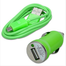 Durable Green Car Charger Adapter Convenient 5V 1A+ Fast  Sync USB 2.0 Charging Data Cable for Samsung for HTC Hot Selling